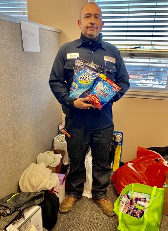 Sal Rojas donates to Salvation Army Adopt-a-Family